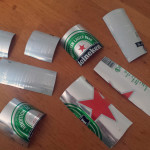 Slices of beer cans